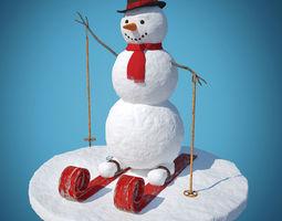3d model snowman skier