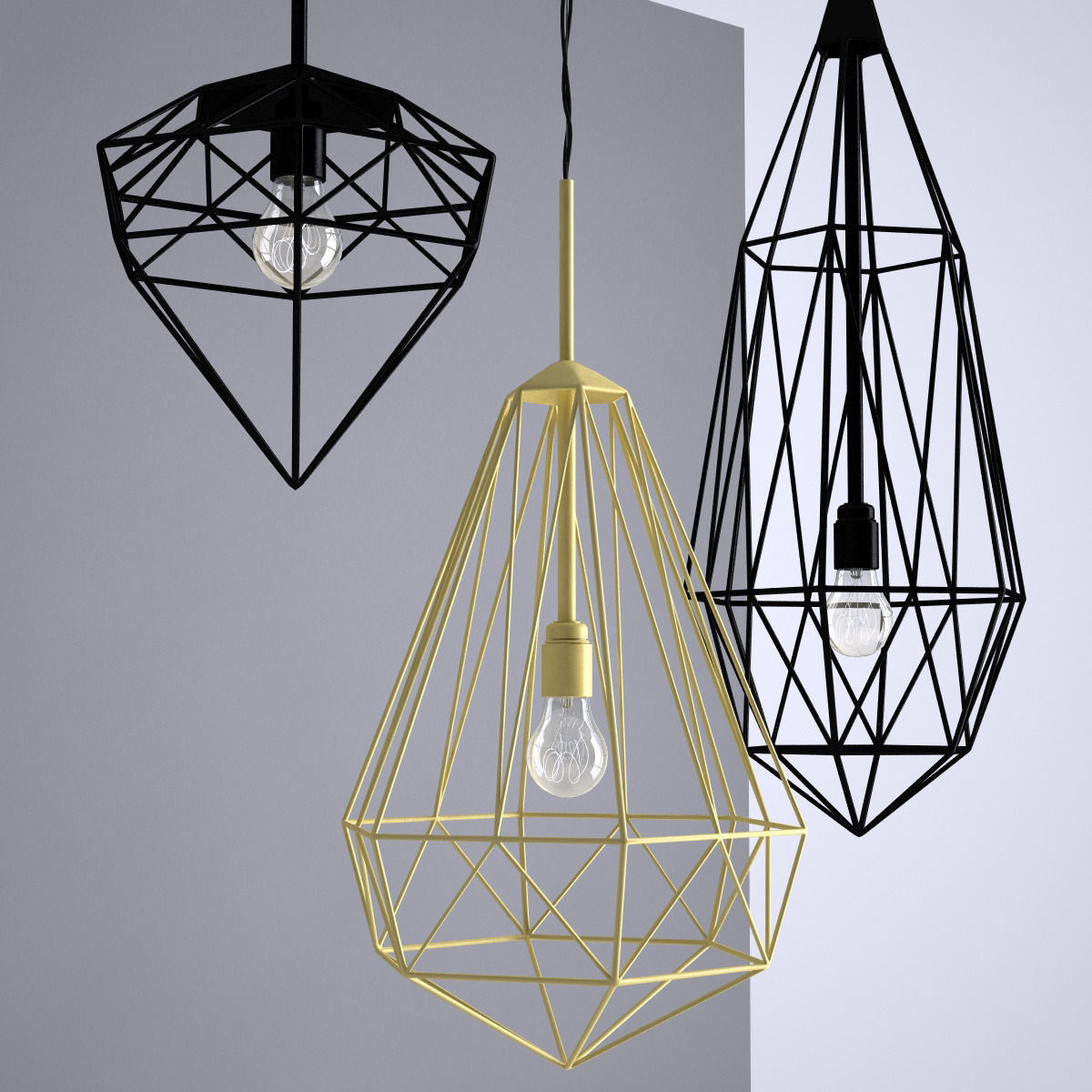 Hanging Ceiling Light 3d Autocad Model: Jspr Diamonds Ceiling Light 3D Model MAX FBX