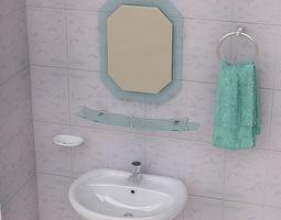 3d model bathroom pedestal sink and props