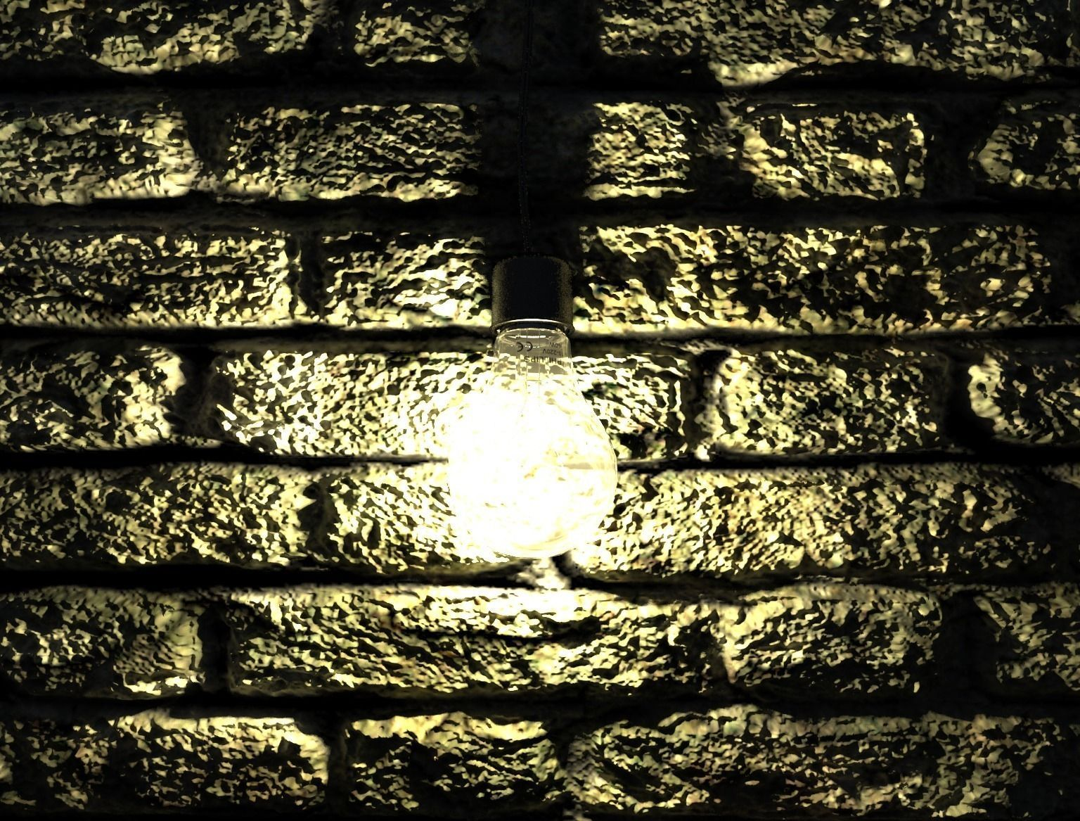 Light bulb on brick wall 3d asset cgtrader light bulb on brick wall 3d model max 4 aloadofball Image collections