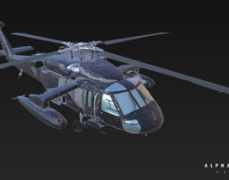 uh-60 game ready helicopter 3d model fbx