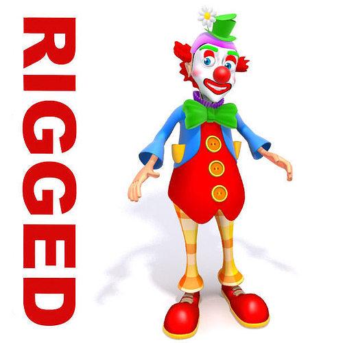 clown cartoon rigged 3d model low-poly rigged max obj mtl 1