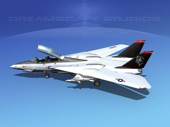 grumman f-14d tomcat t09a vf101 3d model animated max obj mtl 3ds lwo lw lws dxf stl 1