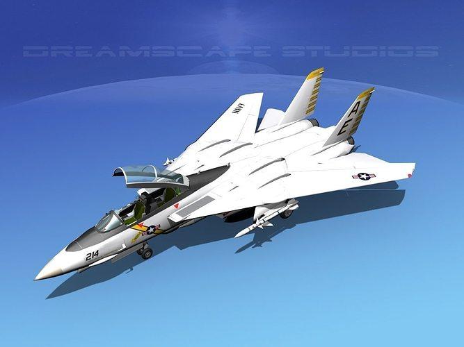 grumman f-14d tomcat t13a vf142 3d model animated max obj mtl 3ds lwo lw lws dxf stl 1