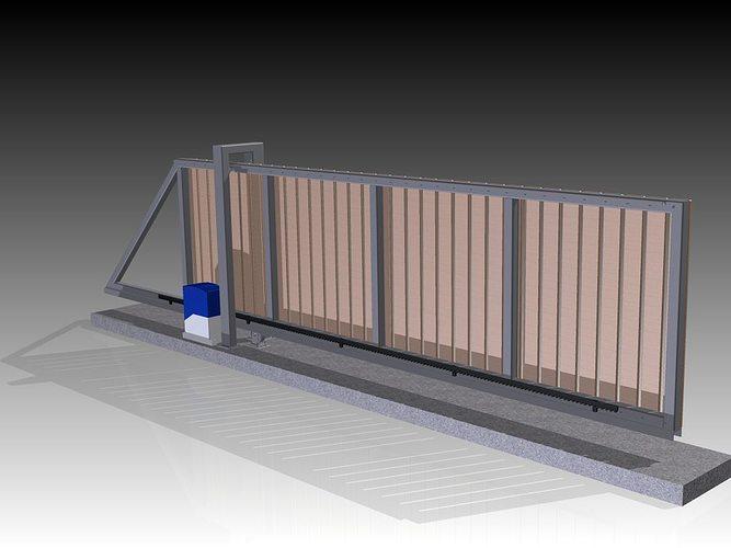 sliding gate 3d model ige igs iges 3