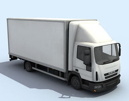 medium size truck 3d model low-poly rigged max obj 3ds fbx dae tga