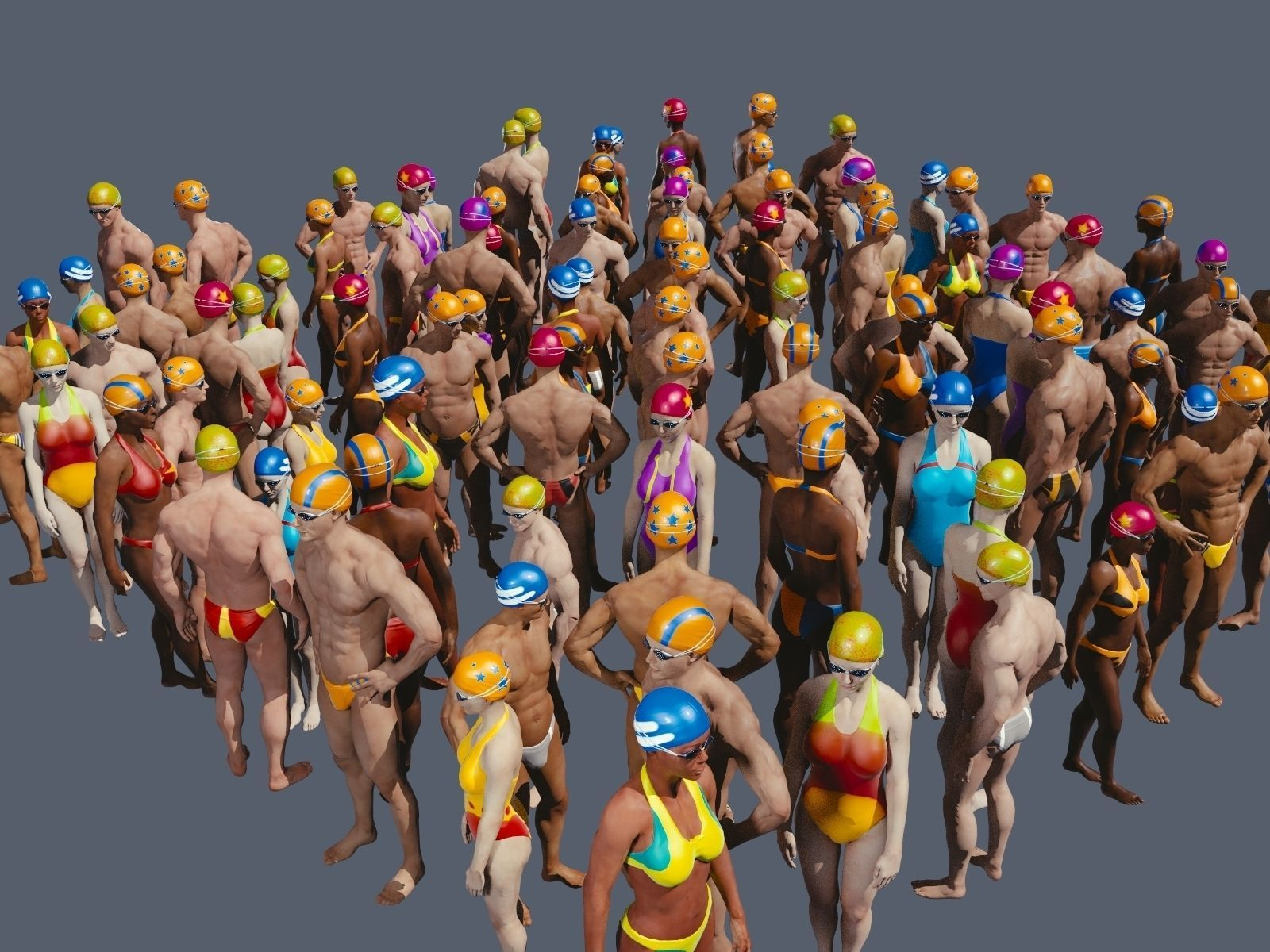 free texture pack for swimming pool people free 3d model