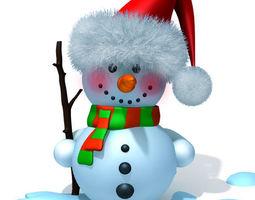 Snowman cartoon 3D asset