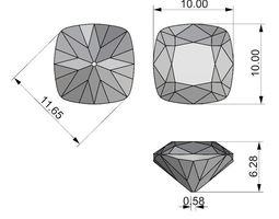 Cushion cut gem 10mm 3d model