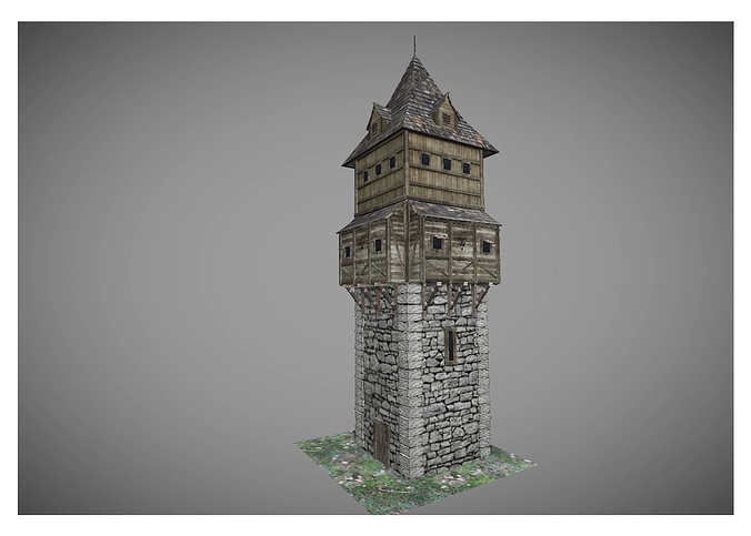 low poly medieval tower 2 3d model low-poly obj 3ds fbx lwo lw lws hrc xsi blend 1