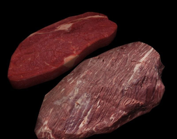 3d model low-poly raw beef steaks