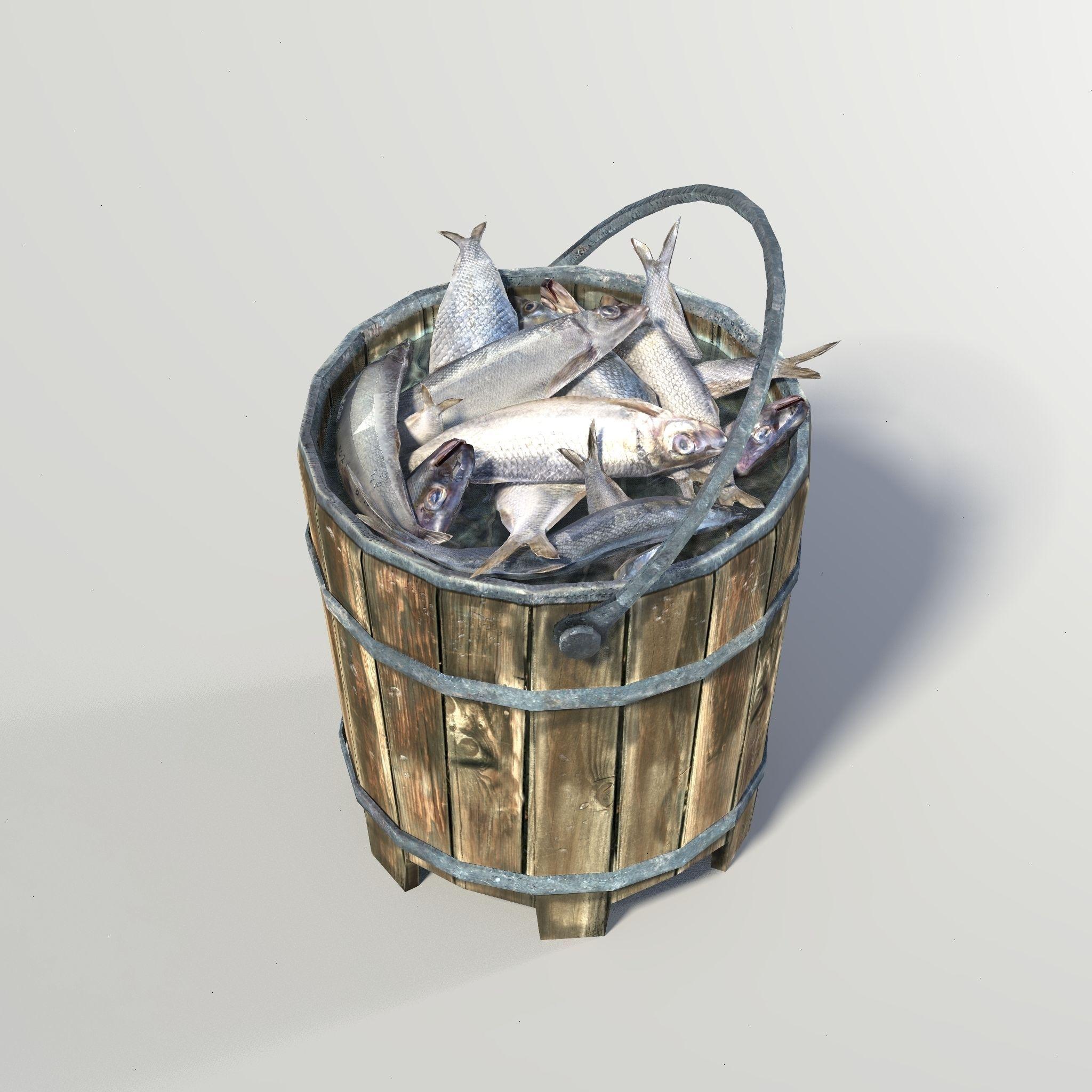 3d model bucket fish vr ar low poly obj ma mb mtl for Bucket of fish