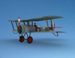 rigged bristol scout toy plane 3d model
