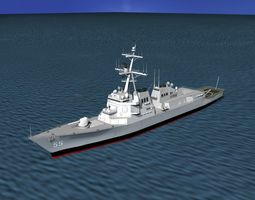 burke class destroyer ddg 55 uss stout 3d model rigged