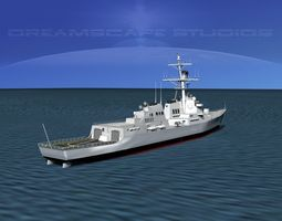 rigged burke class destroyer ddg 68 uss the sullivans 3d model