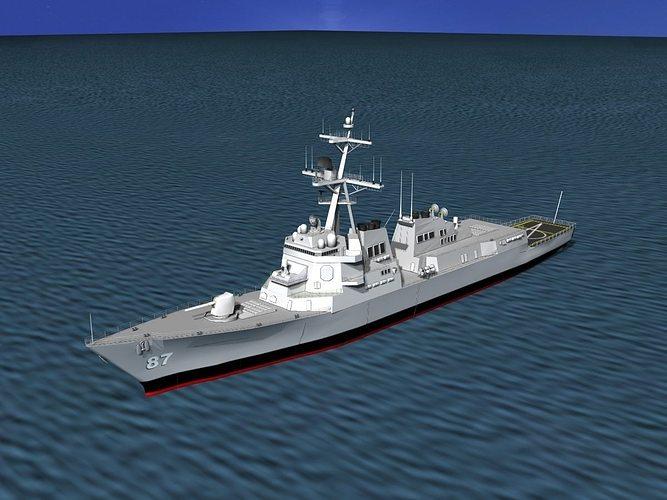 burke class destroyer ddg 87 uss mason 3d model rigged max 3ds lwo lw lws dxf stl 3dm 1