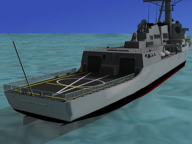 burke class destroyer ddg 100 uss kidd 3d model max 3ds lwo lw lws dxf stl 3dm 1