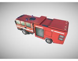 low-poly fire truck 3d asset