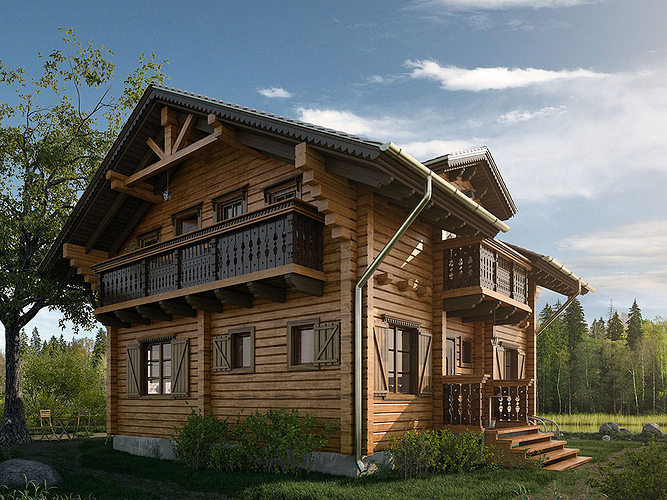 Exterior 3d Model Of House Chalet 3d Cgtrader
