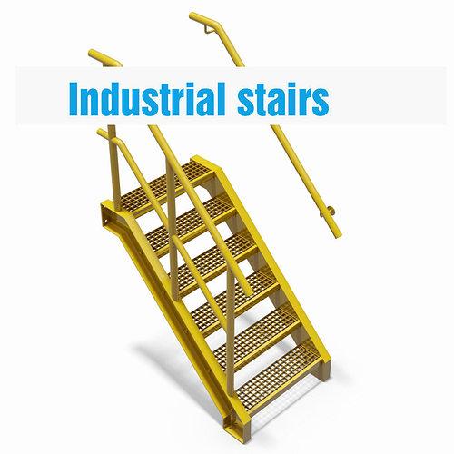 factory stairs - parametric 3d model iam ipt 1