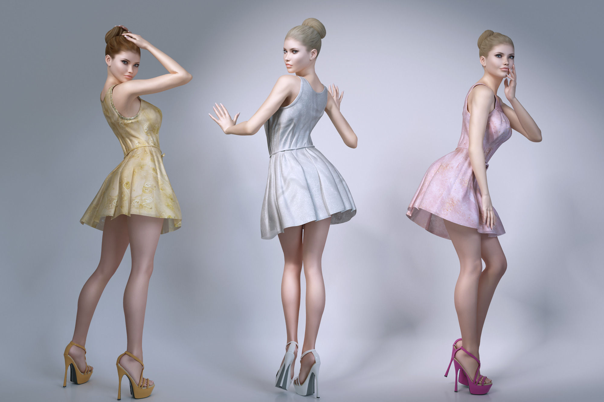 Girl wearing summer dresses 3d model max obj fbx mtl for Mobel 3d download