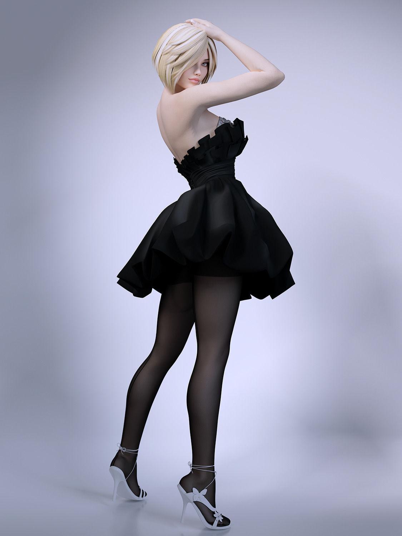 3d girl skirt stockings   cgtrader