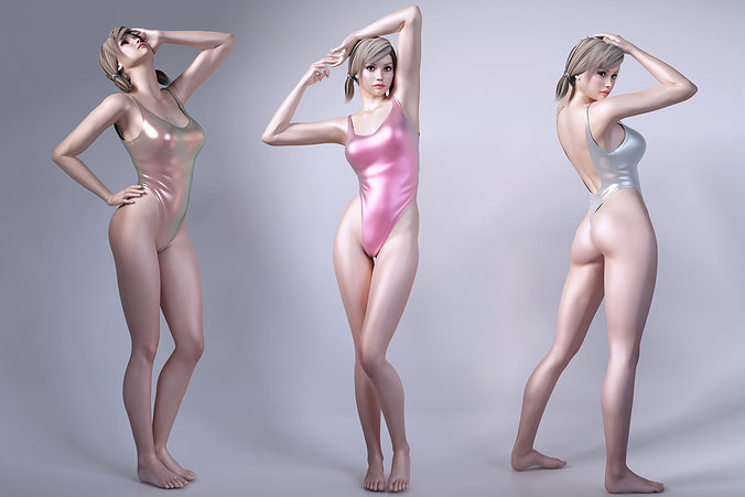 girls wear sports swimsuit 3d model max obj mtl fbx 1