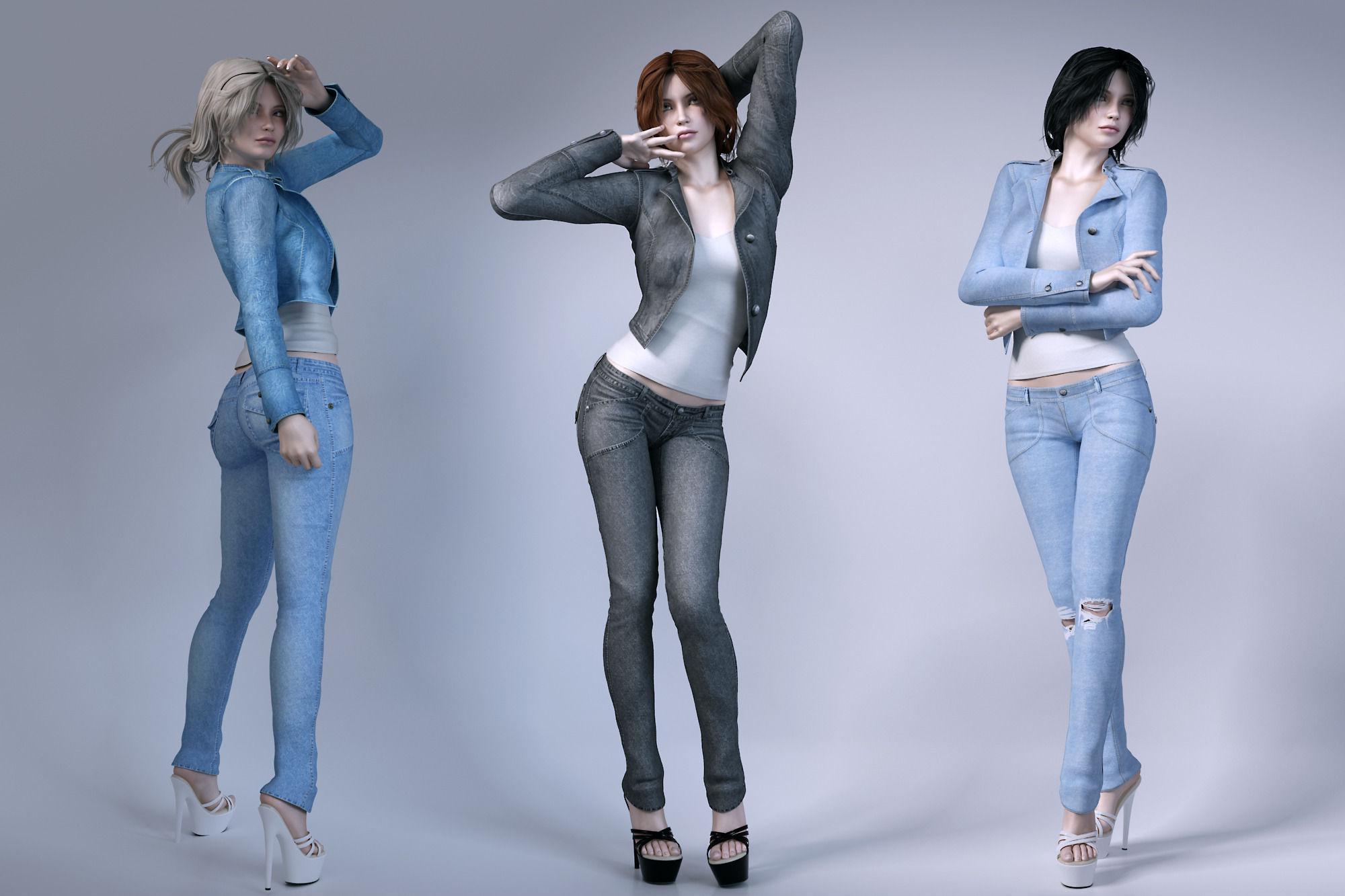 Girls Wear Jeans 3d Model Max Obj Fbx