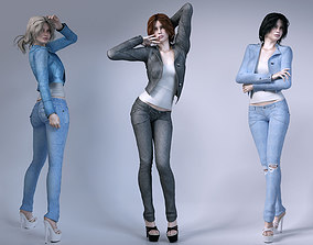 3D model Girls wear jeans