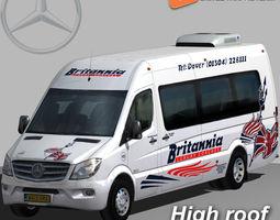 3d model mercedes sprinter 2015 britannia minibus VR / AR ready rigged