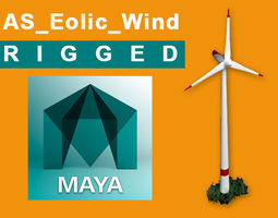 AS eolic wind rigged 3D asset