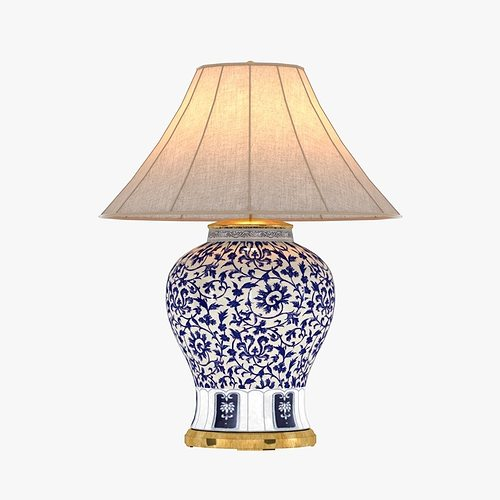 Genial Ralph Lauren MARLENA LARGE TABLE LAMP IN BLUE AND WHITE 3D Model