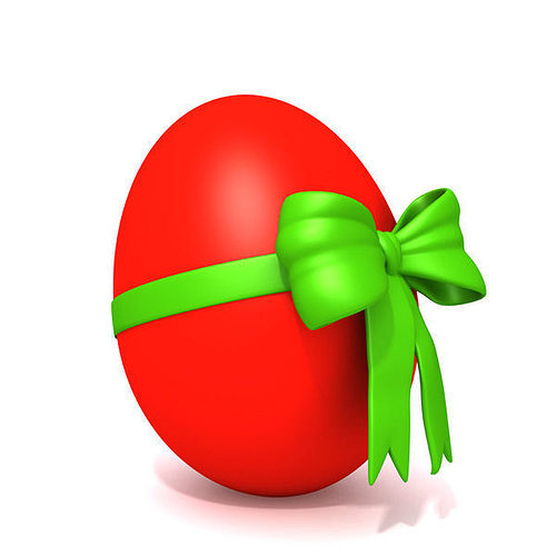 red egg with bow 3d model max obj mtl ma mb 1