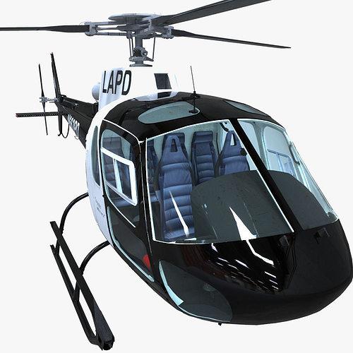 police helicopter 3d model obj mtl fbx ma mb 1