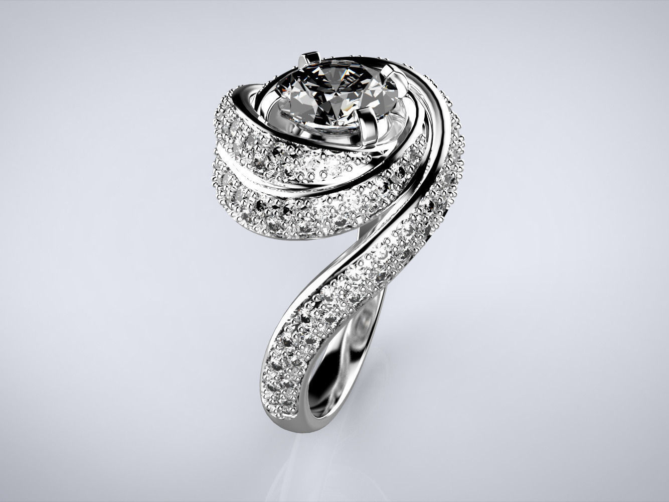 center rings qrguvbl tension swirl ring promise stone three engagement wedding diamond