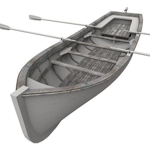 row boat 3d model obj fbx ma mb mtl 1