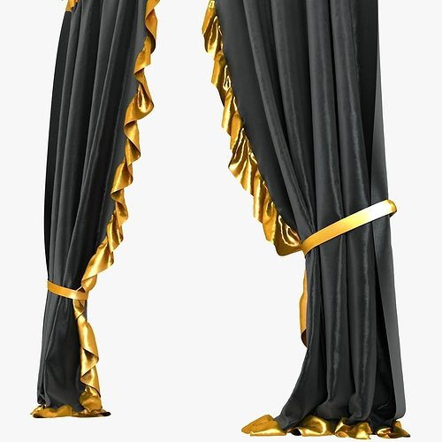 Curtains Ideas black velour curtains : Black Velvet Curtains 3D Model MAX OBJ 3DS FBX MTL | CGTrader.com