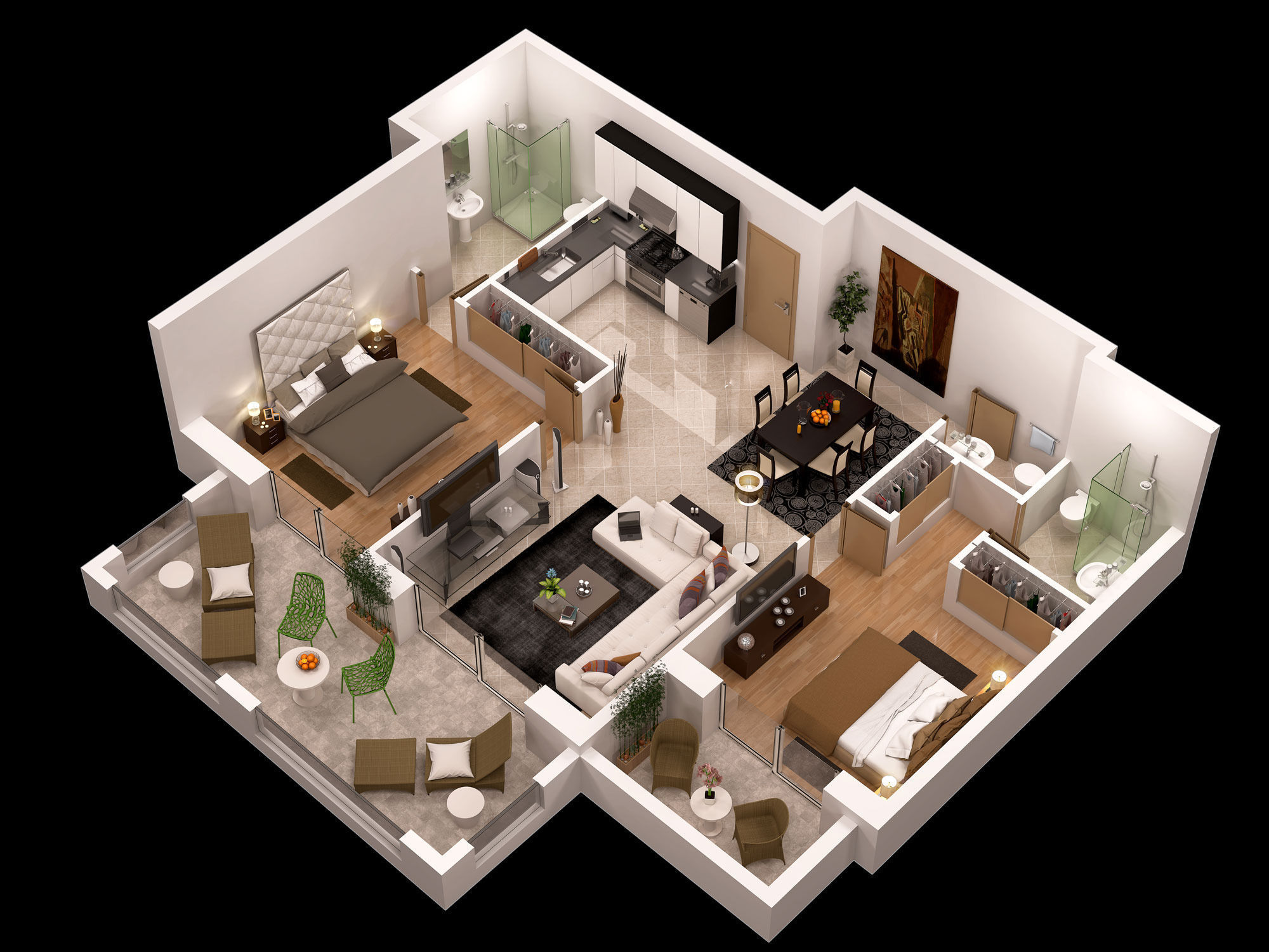 Detailed Floor Plan 3d 3d Model Max Obj Cgtrader Com