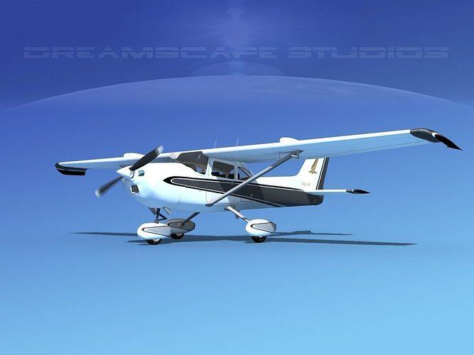 cessna 172 skyhawk stol v04 3d model animated max obj 3ds lwo lw lws dxf dwg 1