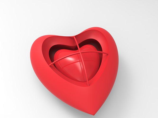 heart heart earring 3d model obj mtl 3ds fbx c4d stl stp 1