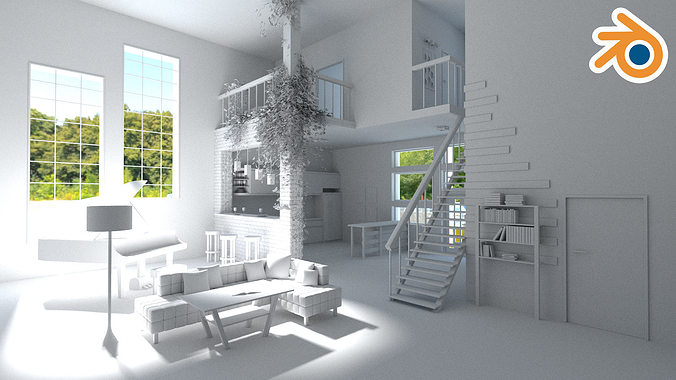 modern loft with living room kitchen and balcony 3d model low-poly max obj mtl fbx blend 1