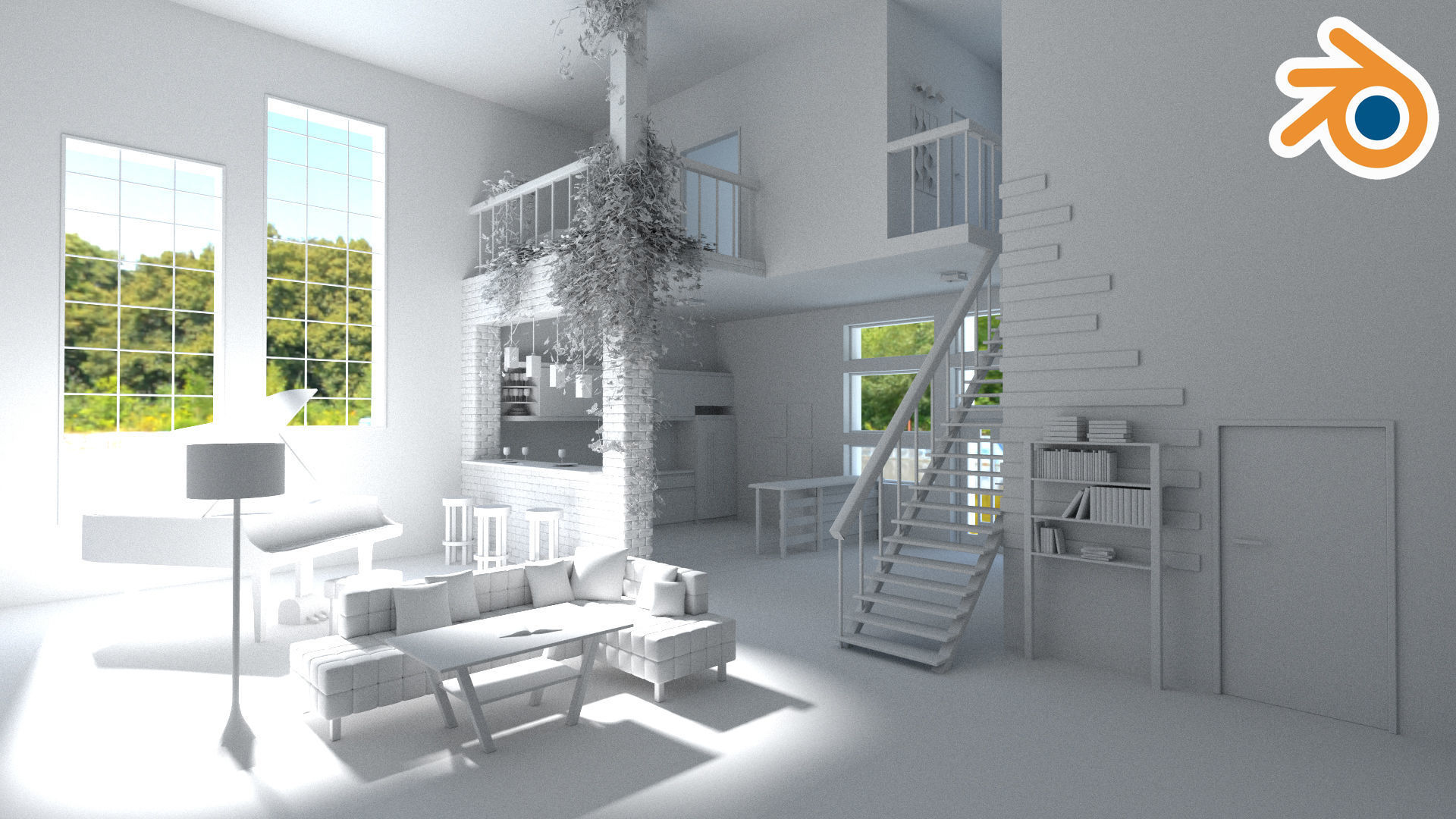 Modern loft with living room kitchen and balcony