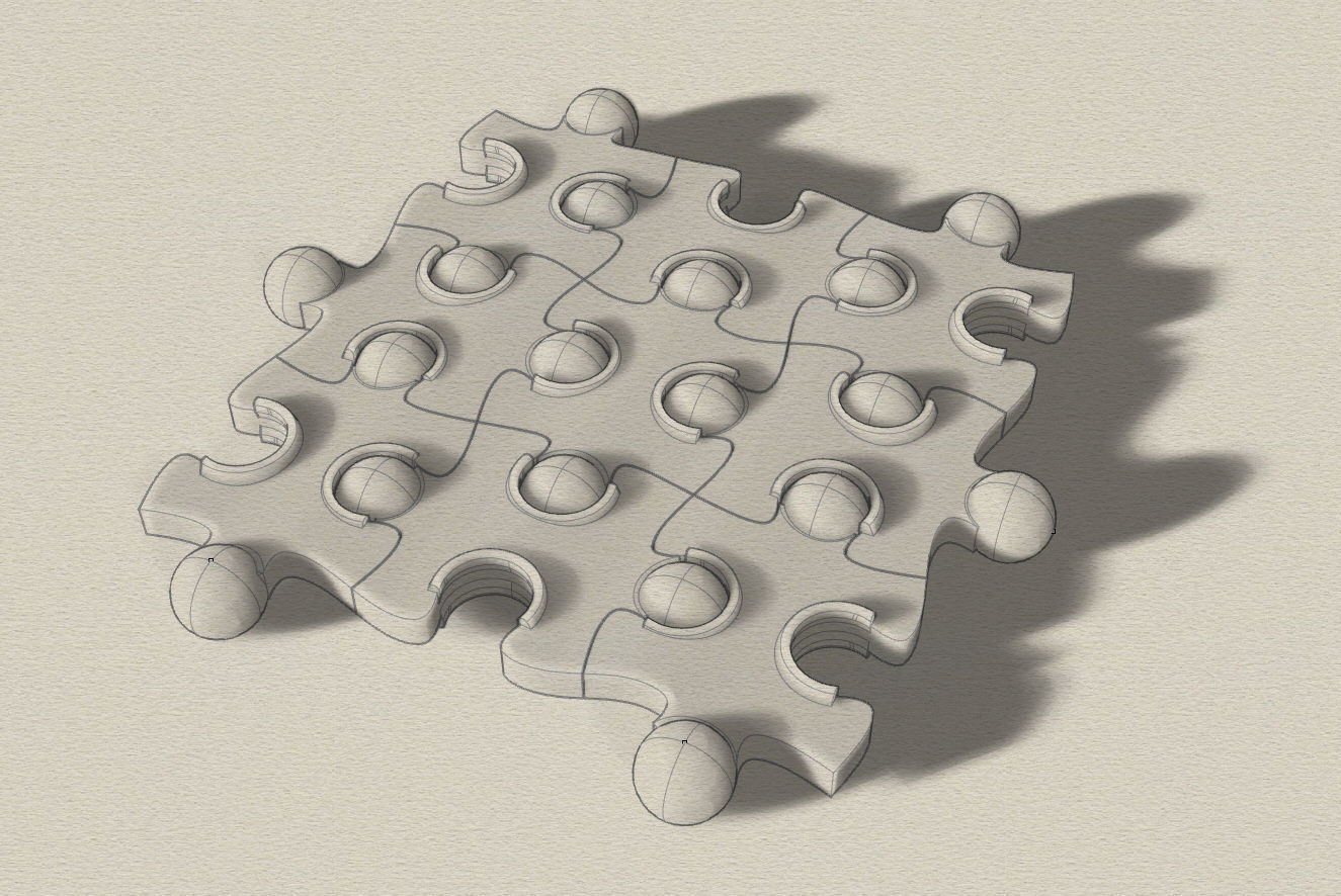 Wavy Jigsaw Puzzle 3d Model Stl 2