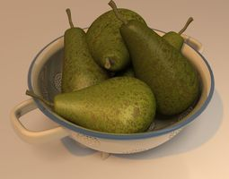 colander with pears 3D model