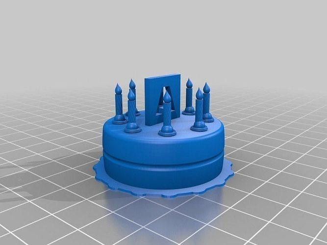 3d Print Model Birthday Cake With Candles And Logo