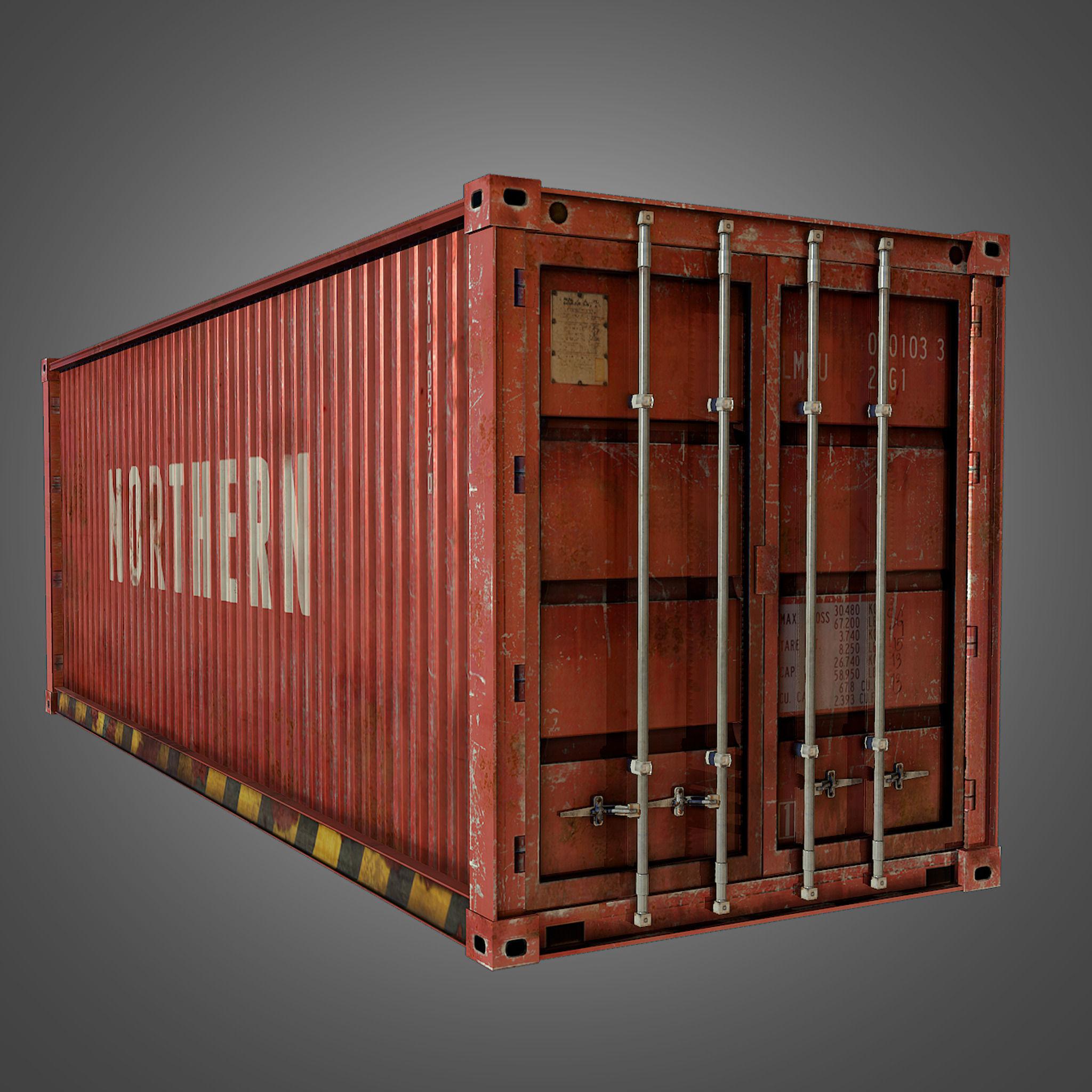 ... cargo container conex 3d model low-poly obj fbx dae tga 8