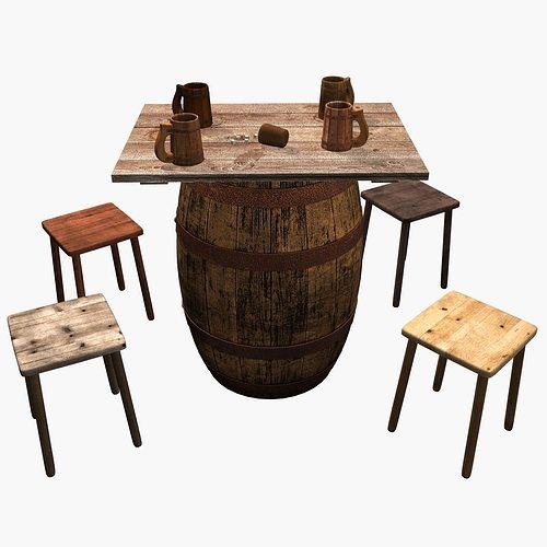 Beer Barrel Table 3D Model