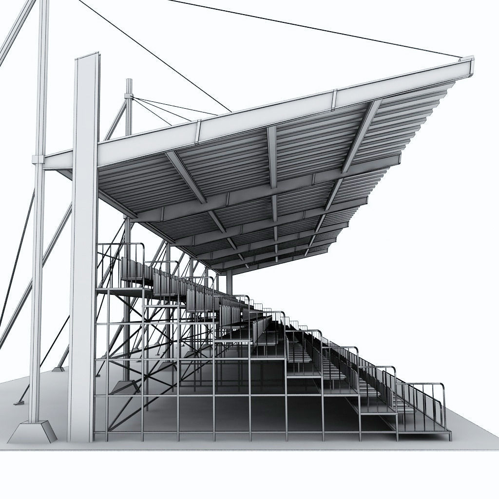 Stadium Seating Tribune Canopy 2 3d Model Max Obj 3ds Fbx