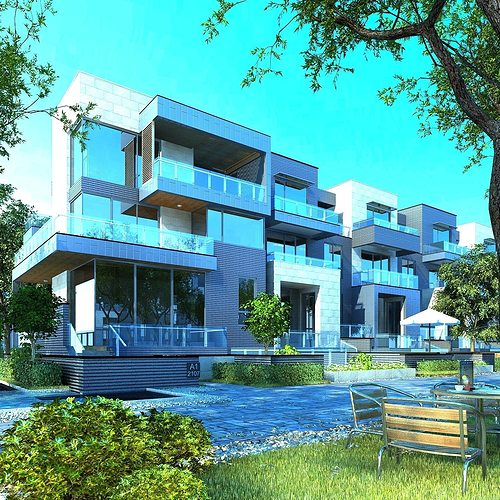 3d Model House Building Residential: Old-building 3D Multi Residential Building