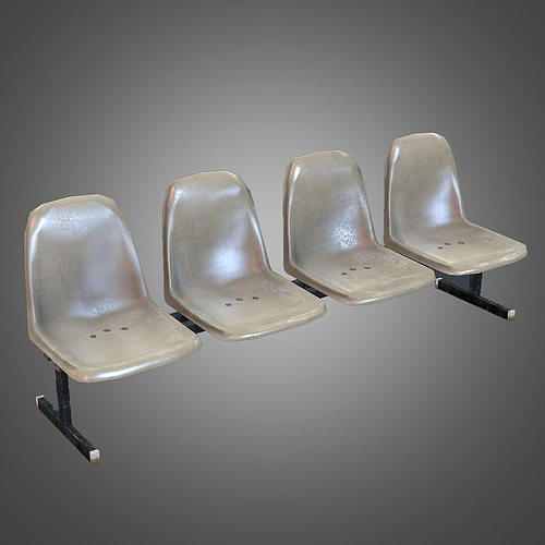 Laundromat Bench Chairs VR / AR / Low Poly 3D Model